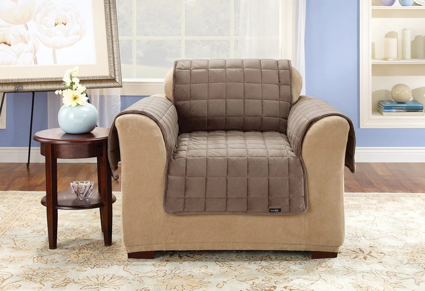 Quilted Lounge Chair Covers Deluxe Comfort Chair Furniture Cover With Arms Machine Washable