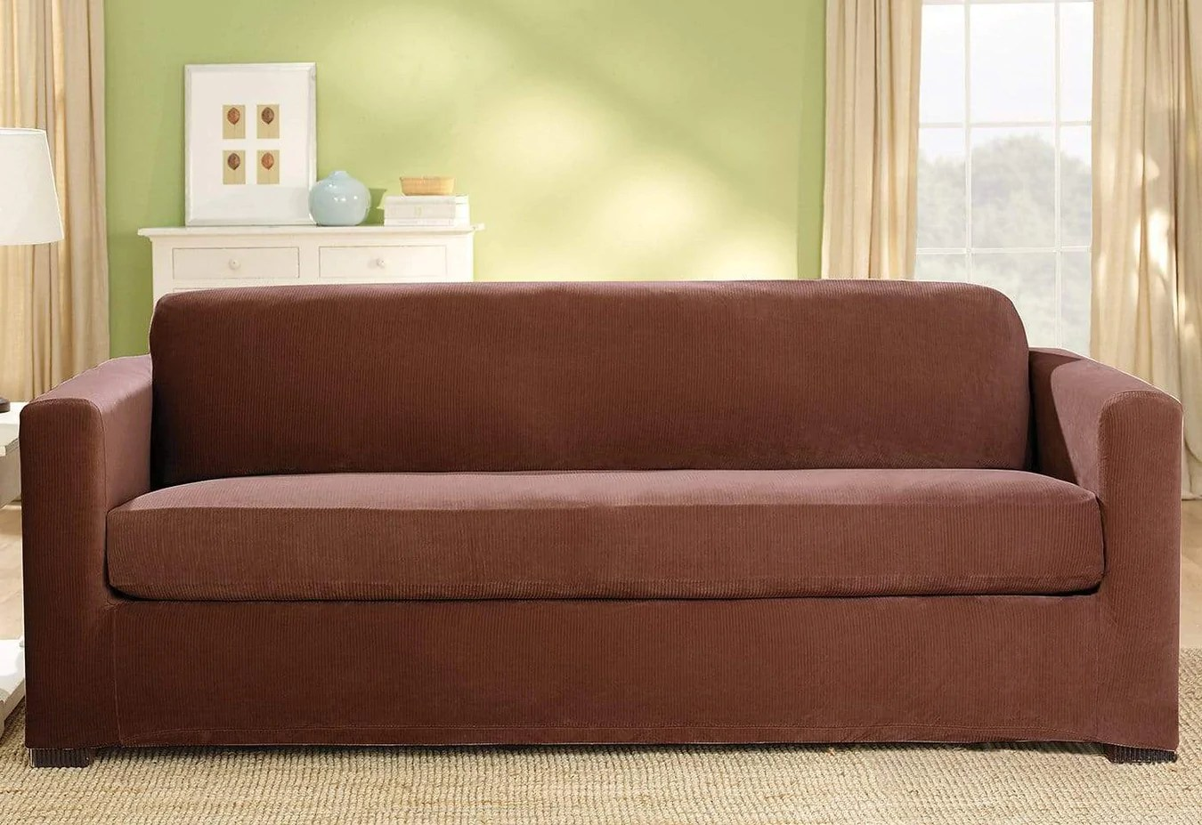 Corduroy 3 Seater Sofa Stretch Corduroy Three Piece With Back Cushion Sofa Slipcover