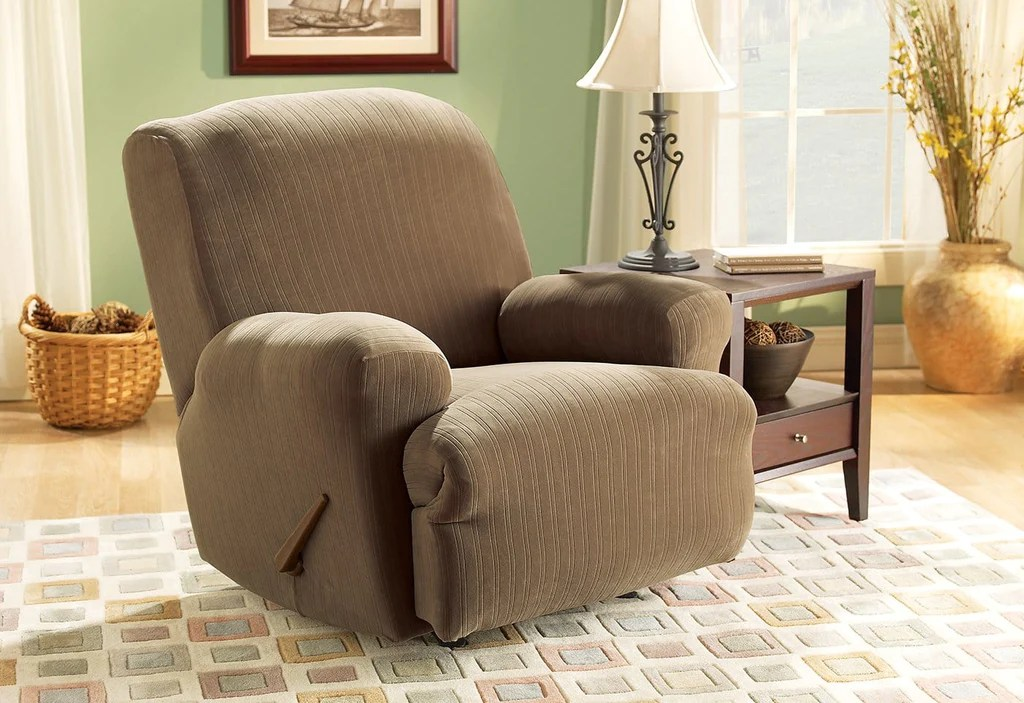 Sofa Slipcovers For Recliners Stretch Pinstripe One Piece Recliner Slipcover – Surefit
