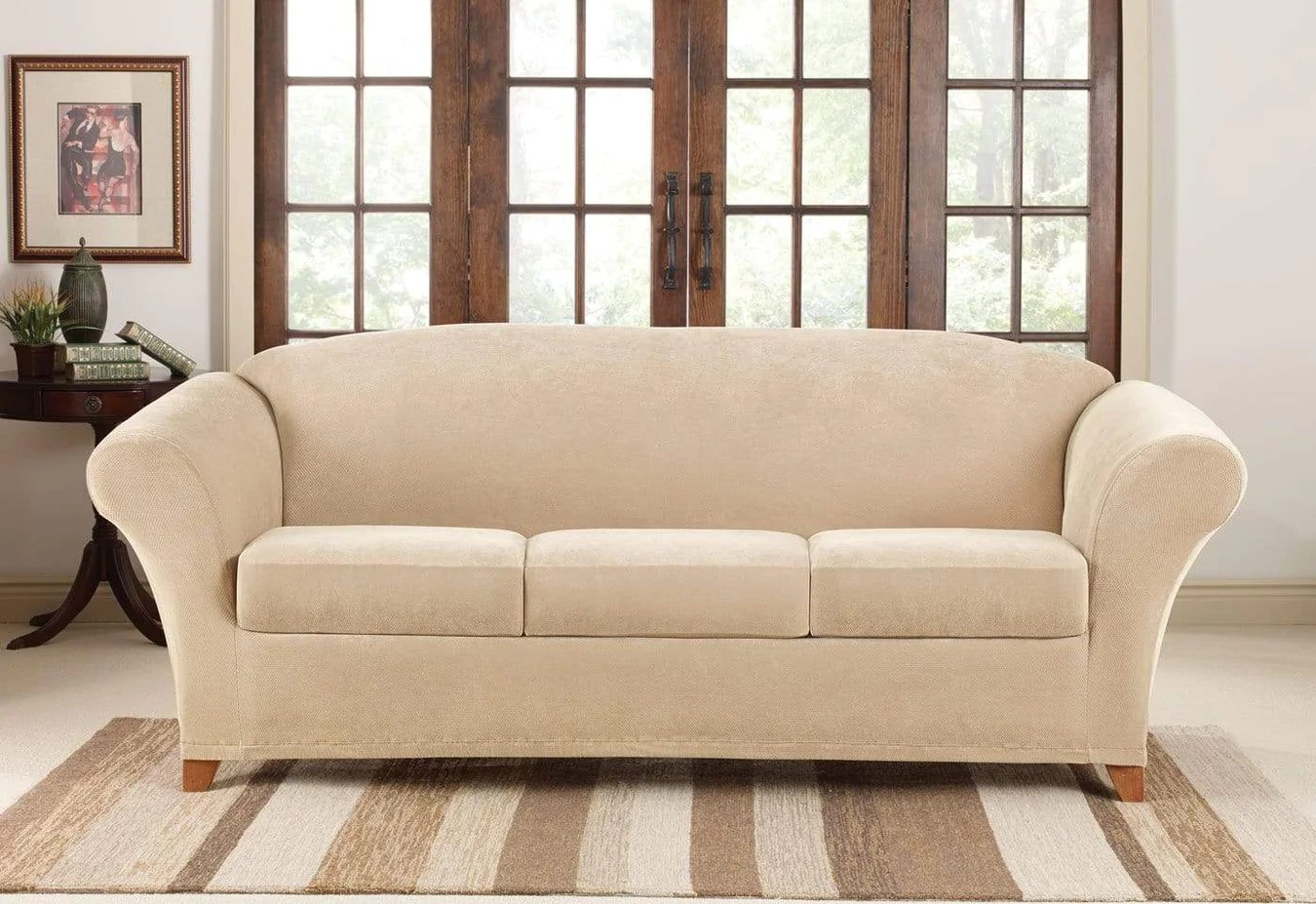Couch Cover Sofa Stretch Pique Four Piece Sofa Slipcover Surefit