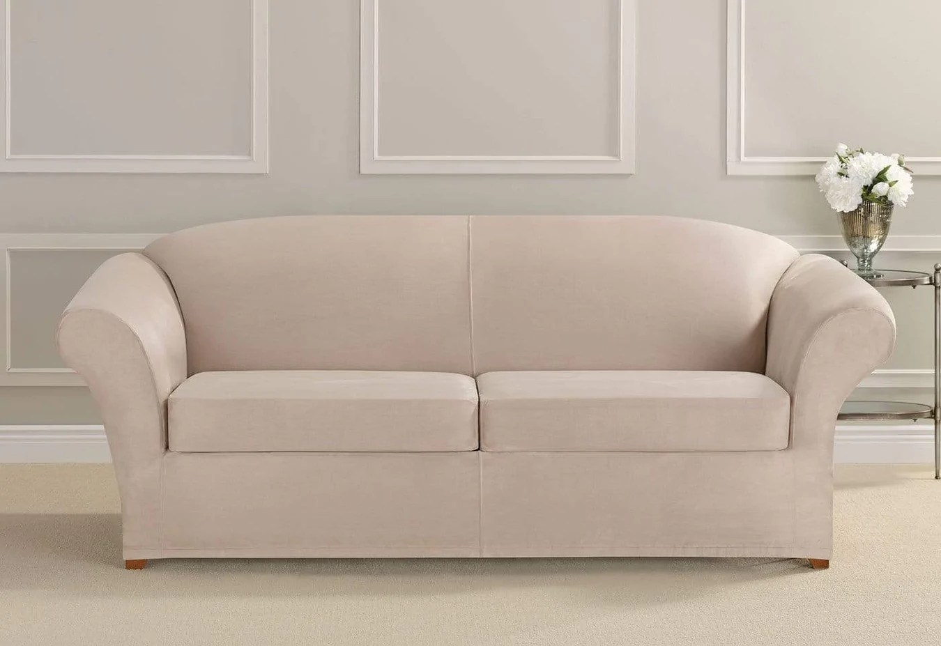 Sofa Slipcovers Ultimate Stretch Suede Three Piece Sofa Slipcover