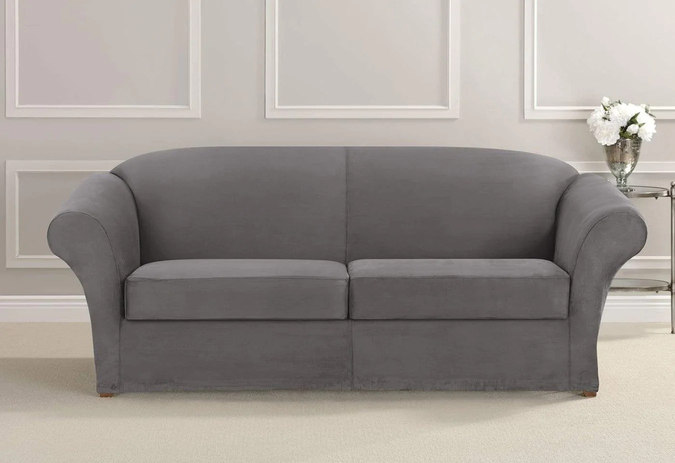 Grey Sofa Slipcover Ultimate Stretch Suede Three Piece Sofa Slipcover Surefit