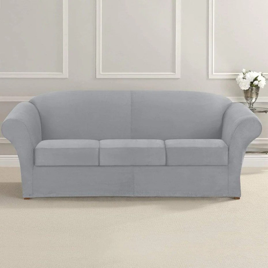 Sofa Slipcovers Ultimate Stretch Suede Four Piece Sofa Slipcover