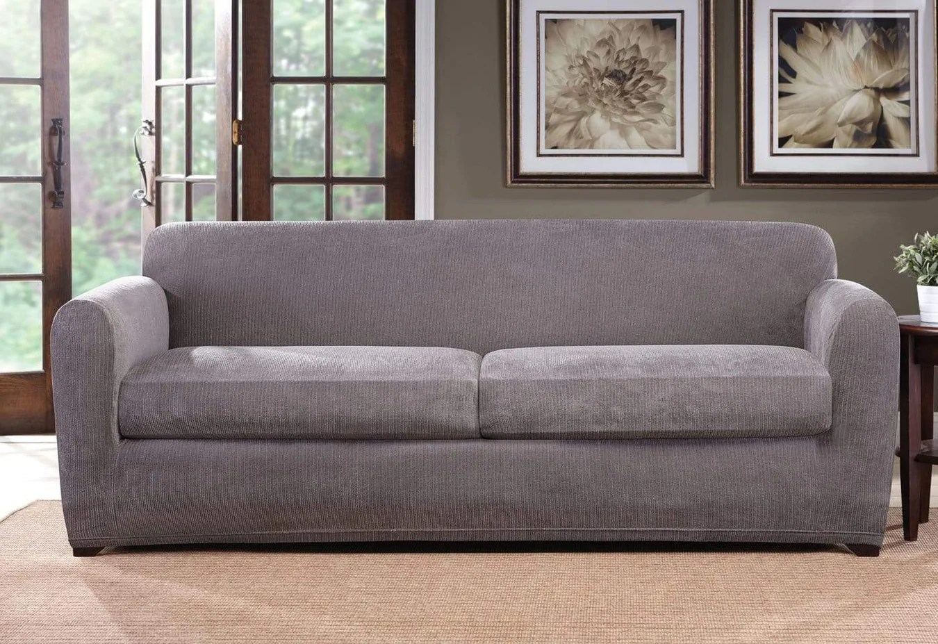 Grey Sofa Slipcover Ultimate Stretch Chenille Three Piece Sofa Slipcover Surefit
