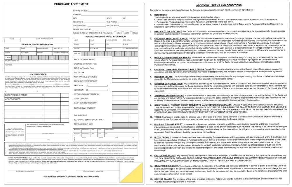 car dealership bill of sale form