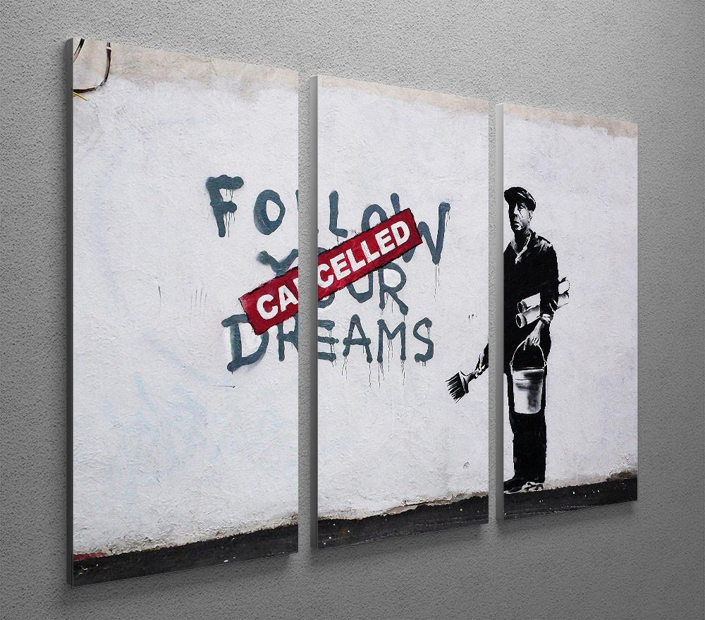 Banksy Canvas Art Banksy Follow Your Dreams Cancelled 3 Split Canvas Print
