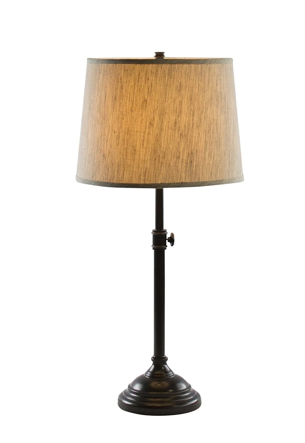 Table Lamp Base Windsor Adjustable Table Lamp Oil Rubbed Bronze Finish Lamp Base With Gray Tone Natural Linen Lampshade