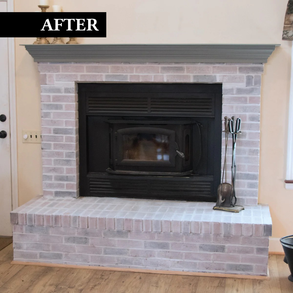 Whitewash Fireplace Before And After Brick Transformations Whitewashed Kit