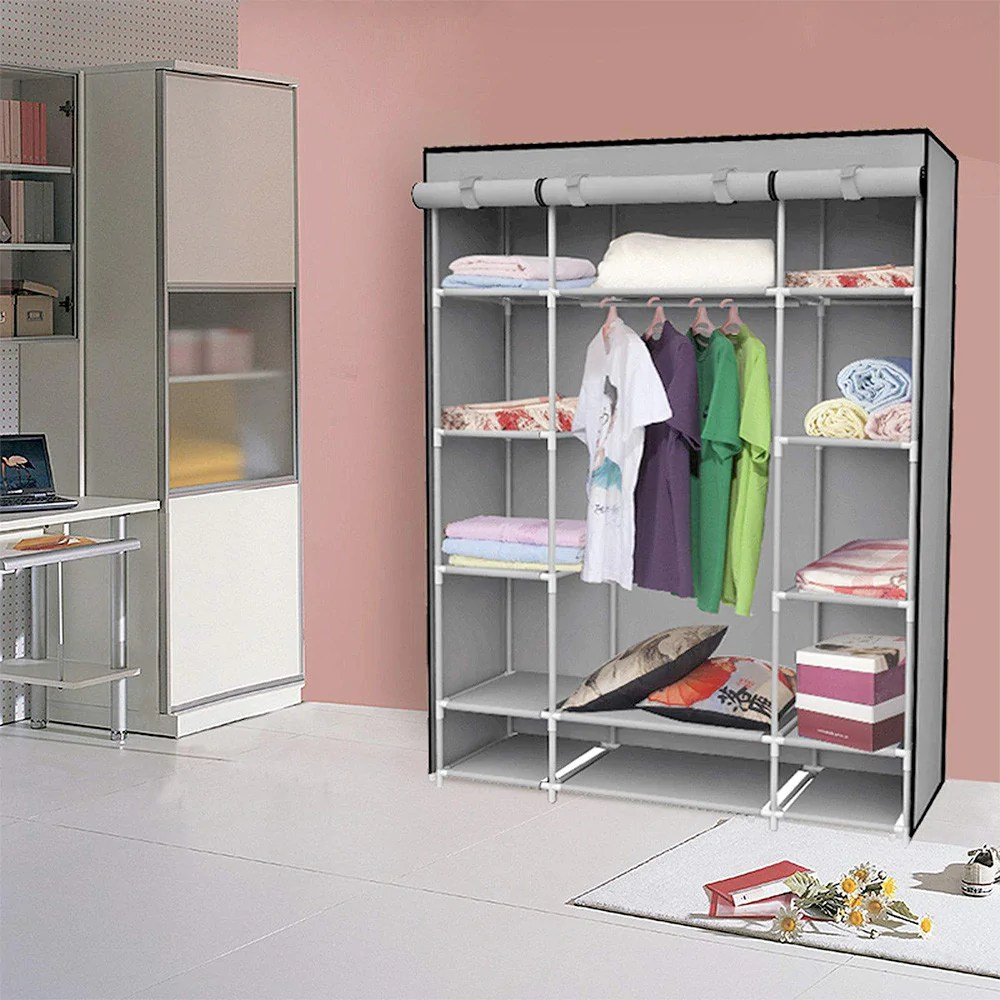 Storage Closet Felji 53 Inch Portable Closet Storage Organizer Wardrobe Clothes Rack With Shelves Grey