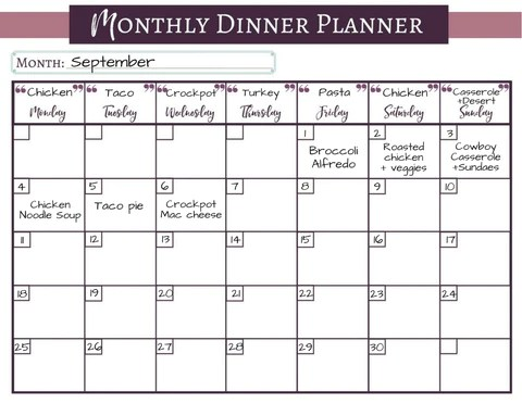 monthly meal planning calendar - Eczasolinf - monthly planning calendar