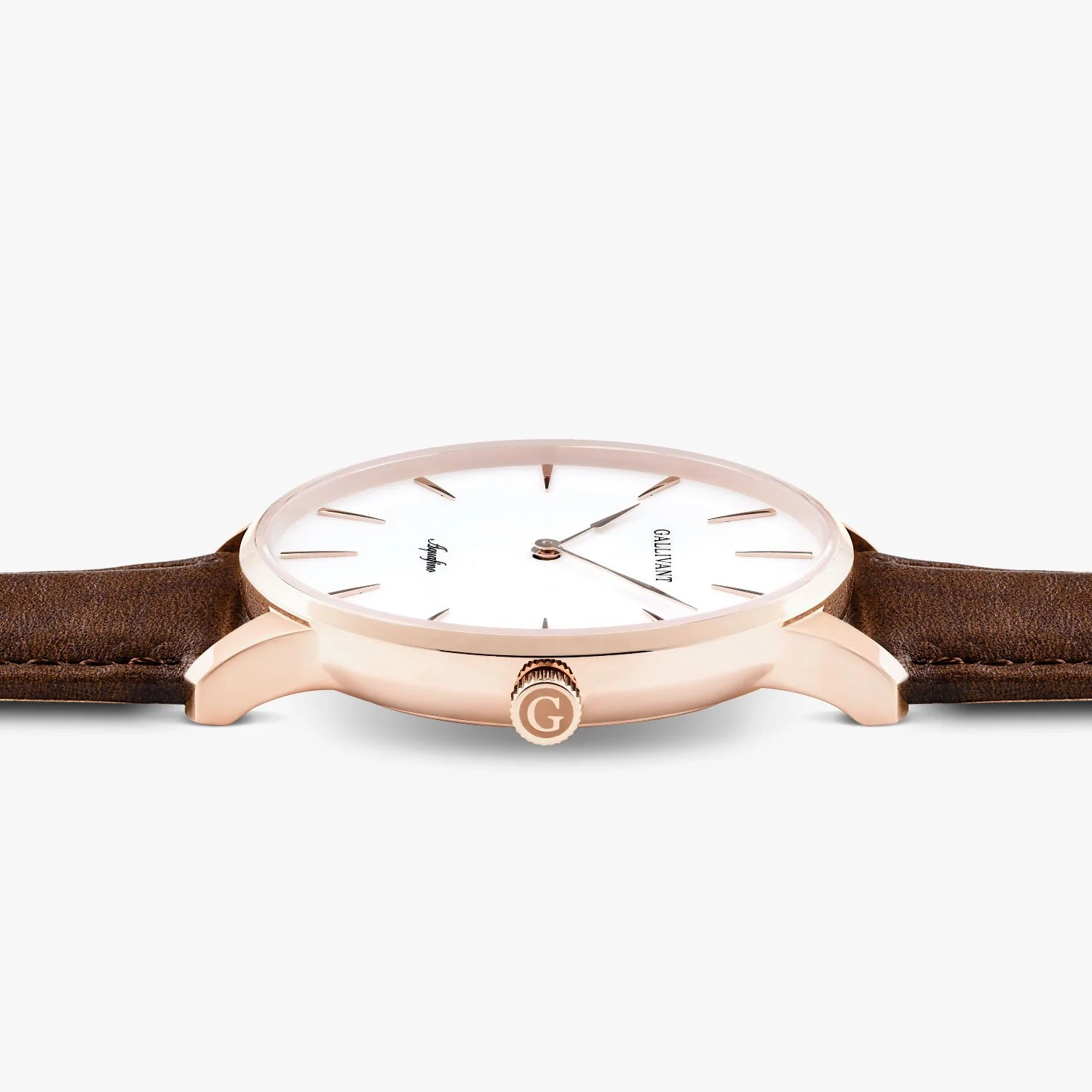 Leather Strap Rose Gold Watch Men S Chestnut Strap