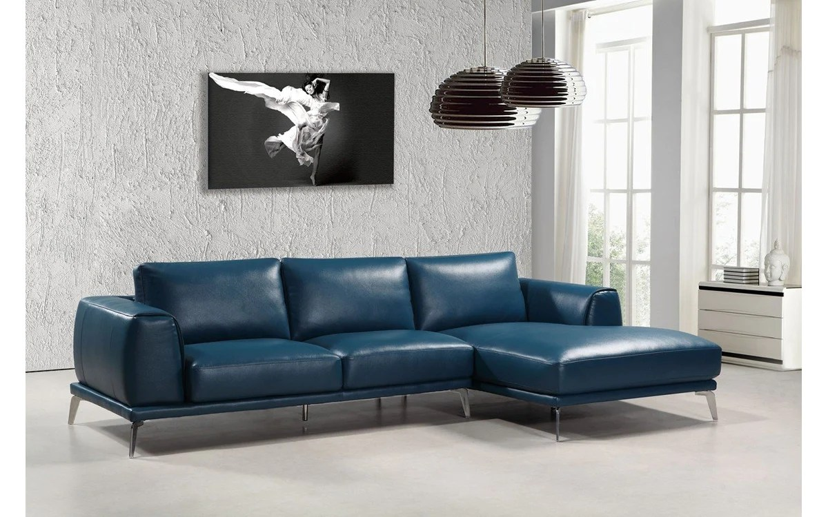 Divani Leather Sofa For Sale Divani Casa Drancy Modern Blue Bonded Leather Sectional Sofa Buy