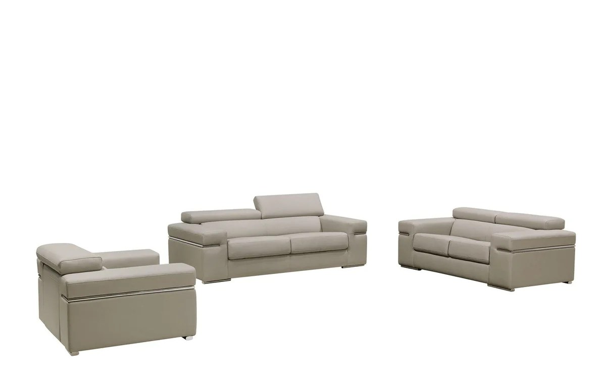 Divani Leather Sofa For Sale Divani Casa Atlantis 3 Piece Modern Light Grey Bonded Leather Sofa