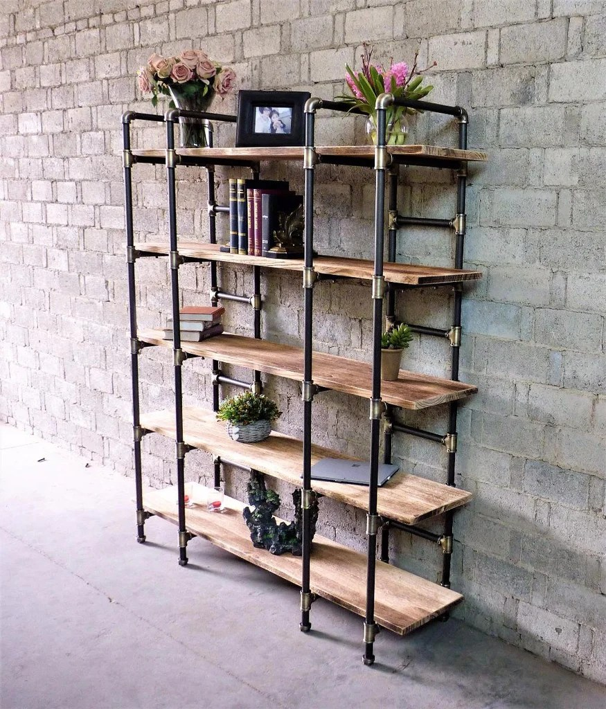 Etagere Metal Manhattan Modern Industrial 80 Inch Large Open Etagere 6 Shelf Pipe Bookcase Metal With Reclaimed Wood Finish