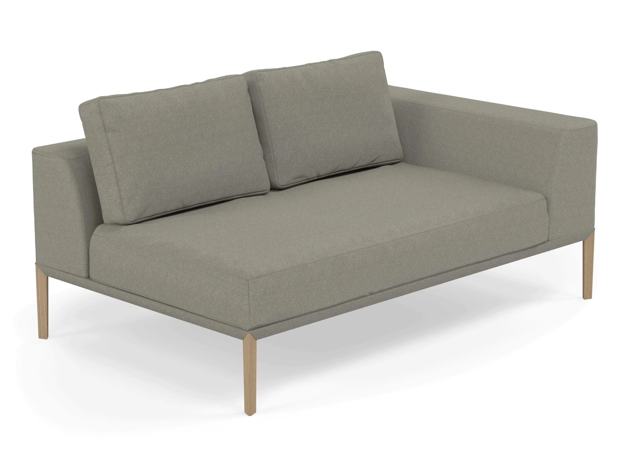 Modern 2 Seater Chaise Lounge Style Sofa With Left Armrest In Silver G Distinct Designs London Ltd