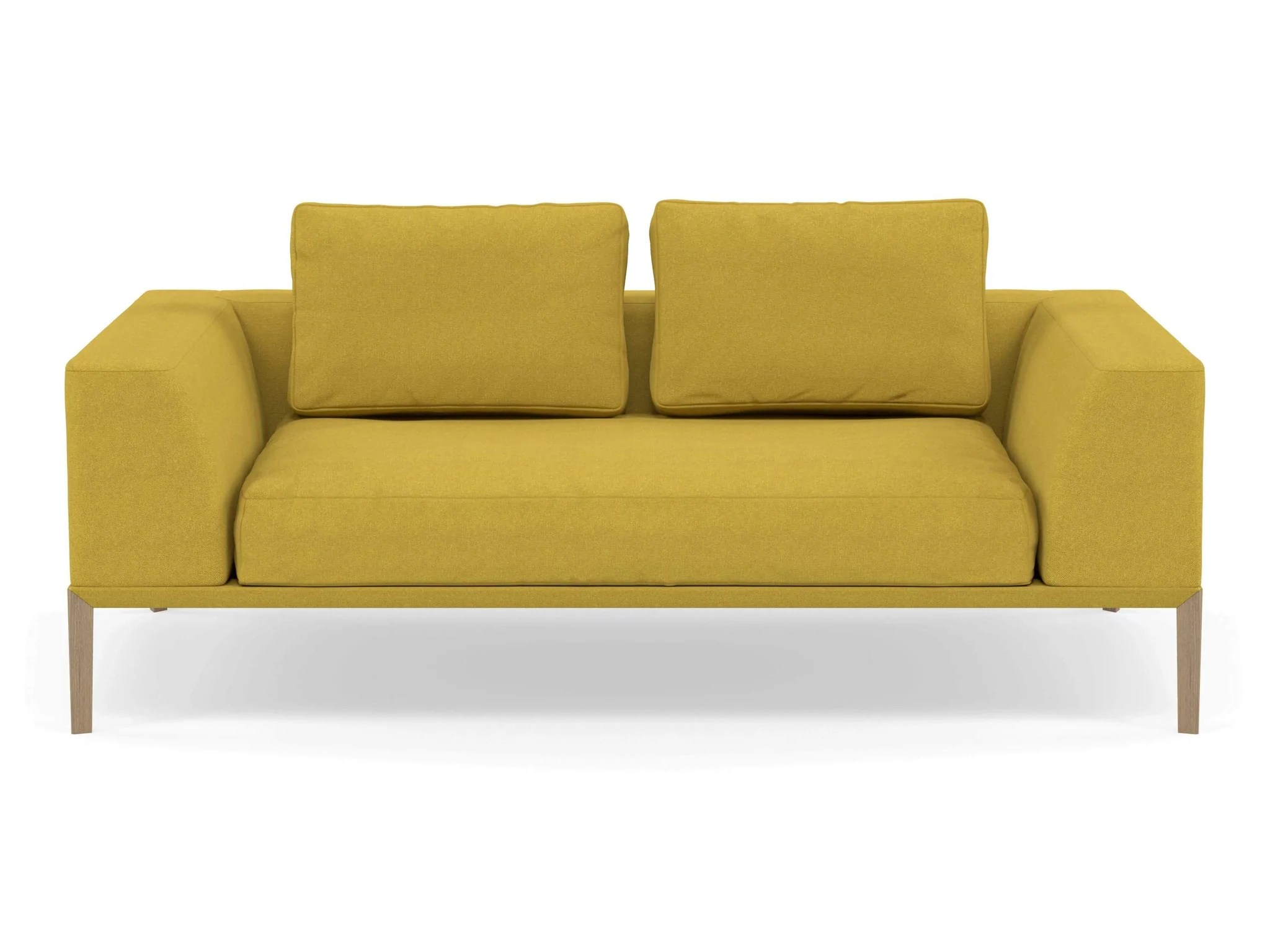 Modern 2 Seater Sofa With 2 Armrests In Vibrant Mustard Yellow Fabric Distinct Designs London Ltd