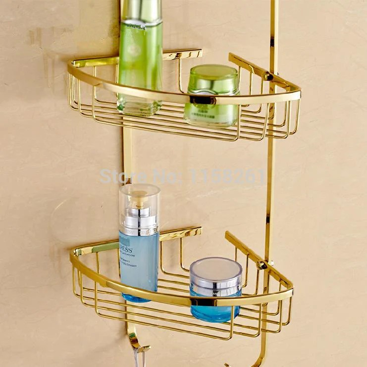 Bathroom Shelves 3 Tier Metal Gold Shower Wall Shelf