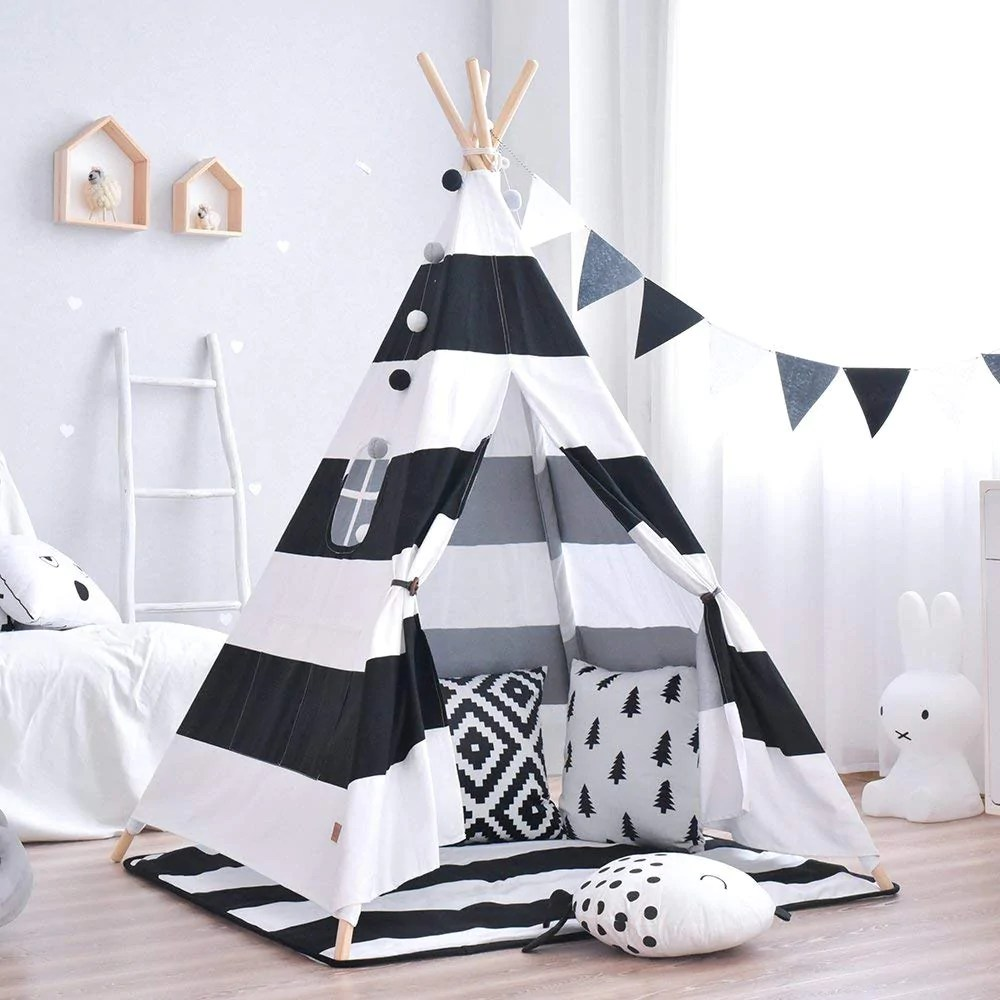 Teepee Kids Black Striped Teepee Kids Play Tent