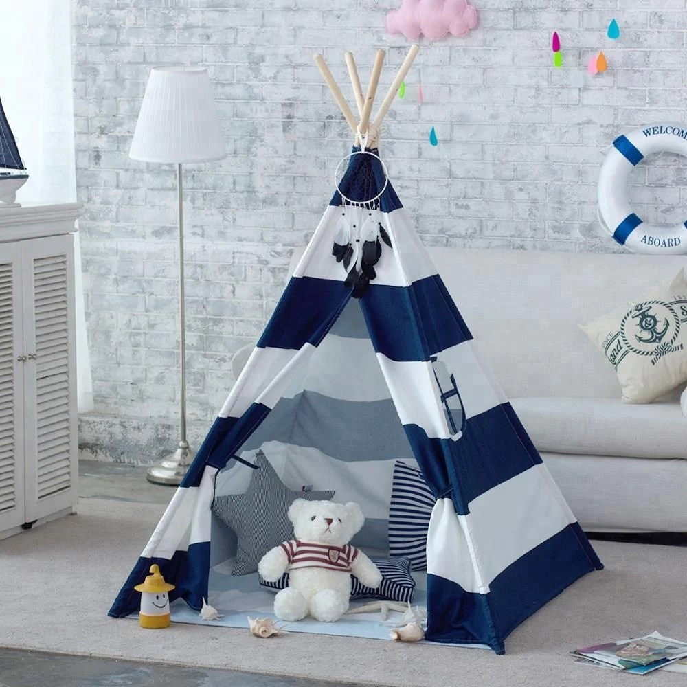 Teepee Kids Navy Stripe Canvas Kids Teepee Children Play Tent