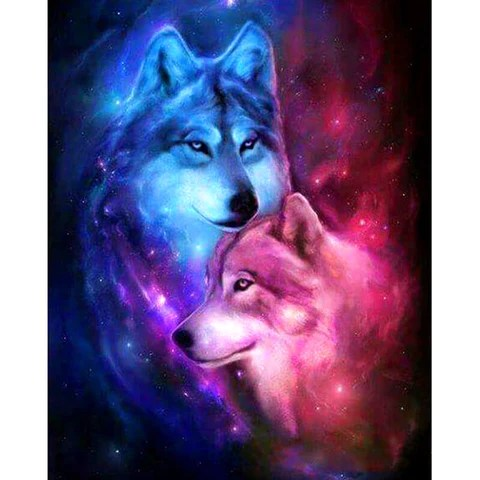 3d Girl Image Wallpaper Galaxy Wolf Couple