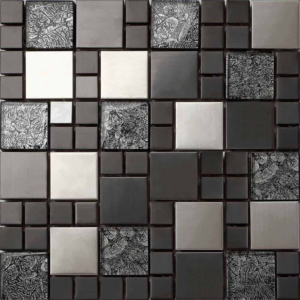 Mosaik Pvc Metallic Brushed Steel Black Hongkong Glass Mosaic Tiles