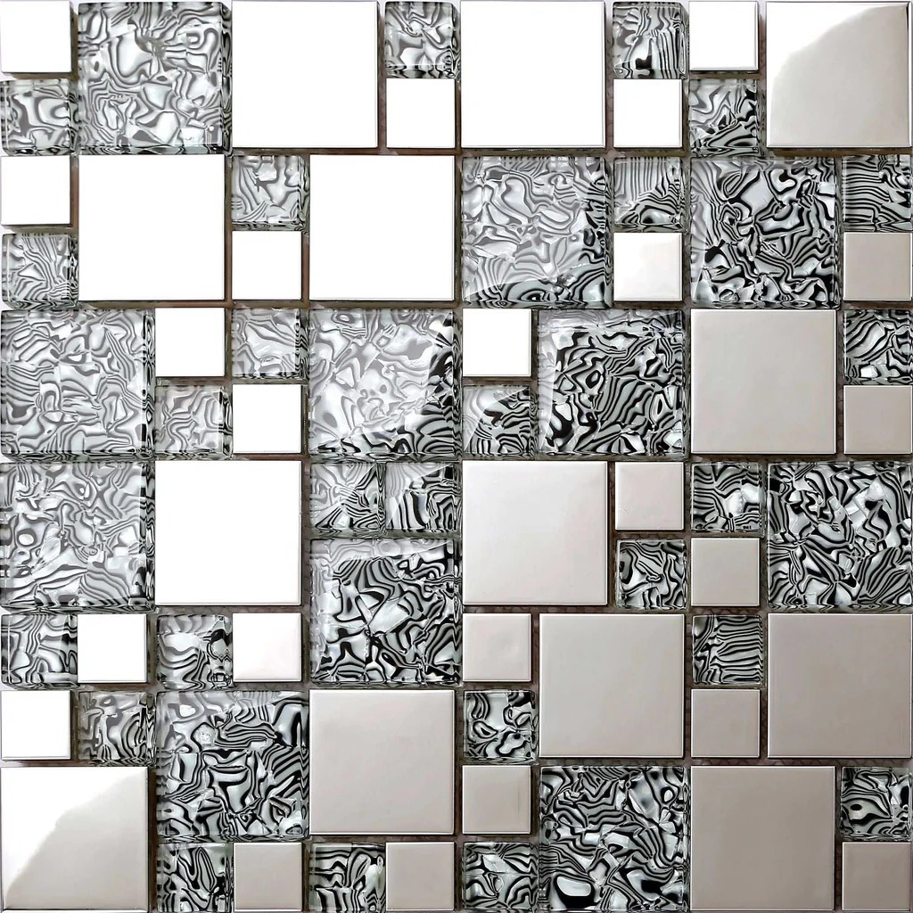 Patterned Glass Black White Patterned Glass Polished Stainless Steel Mosaic Tiles Sheet Mt0132