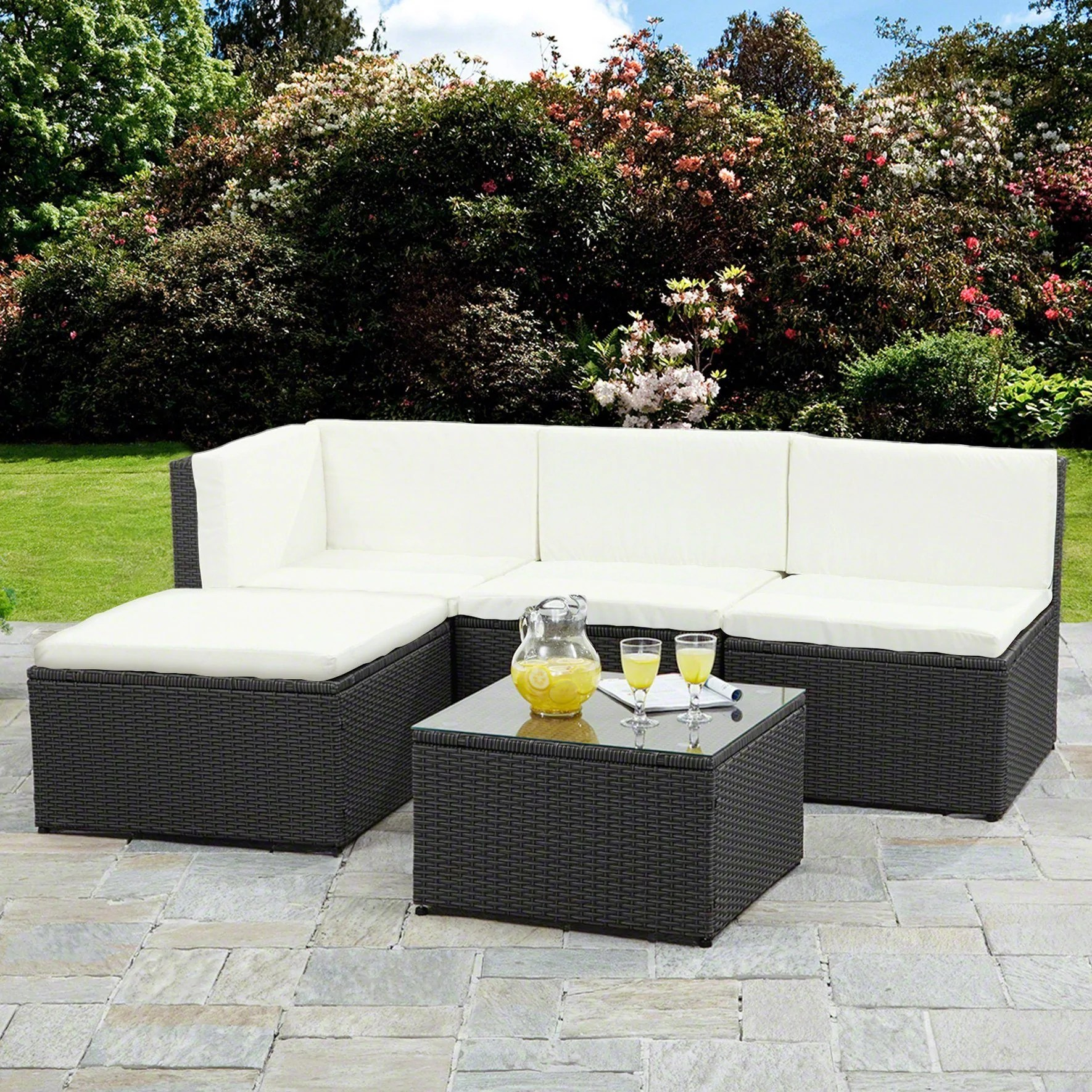 Rattan Corner Sofa Reviews Corner Sofa Rattan Garden Furniture Set Black Laura James