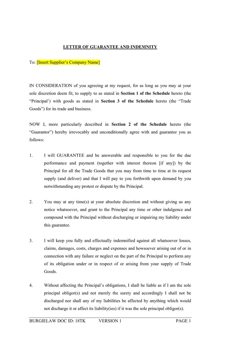 payment guarantee letter format
