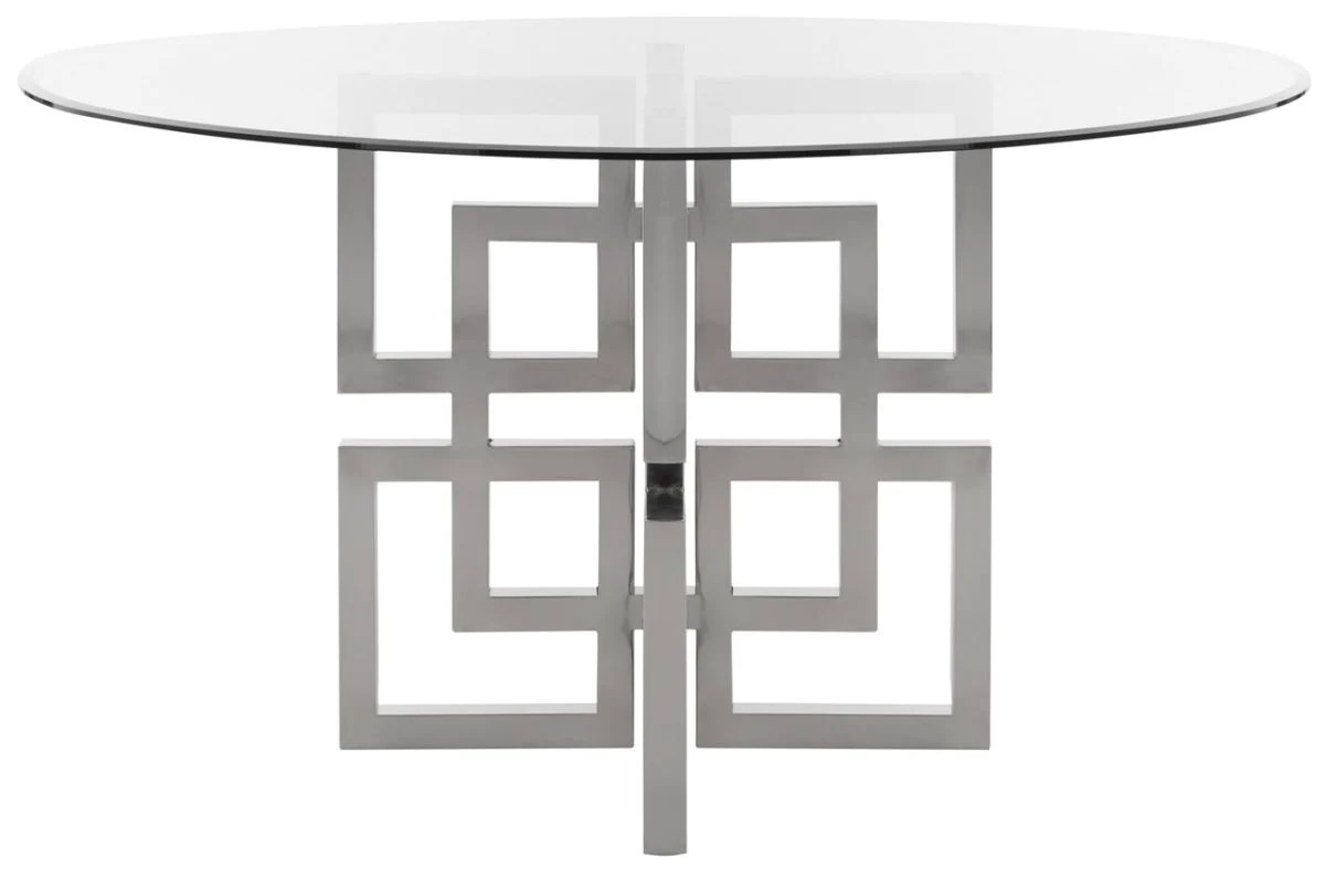 Round Glass Top Dining Table Safavieh Harlan Chrome Round Glass Top Dining Table Fox9052a