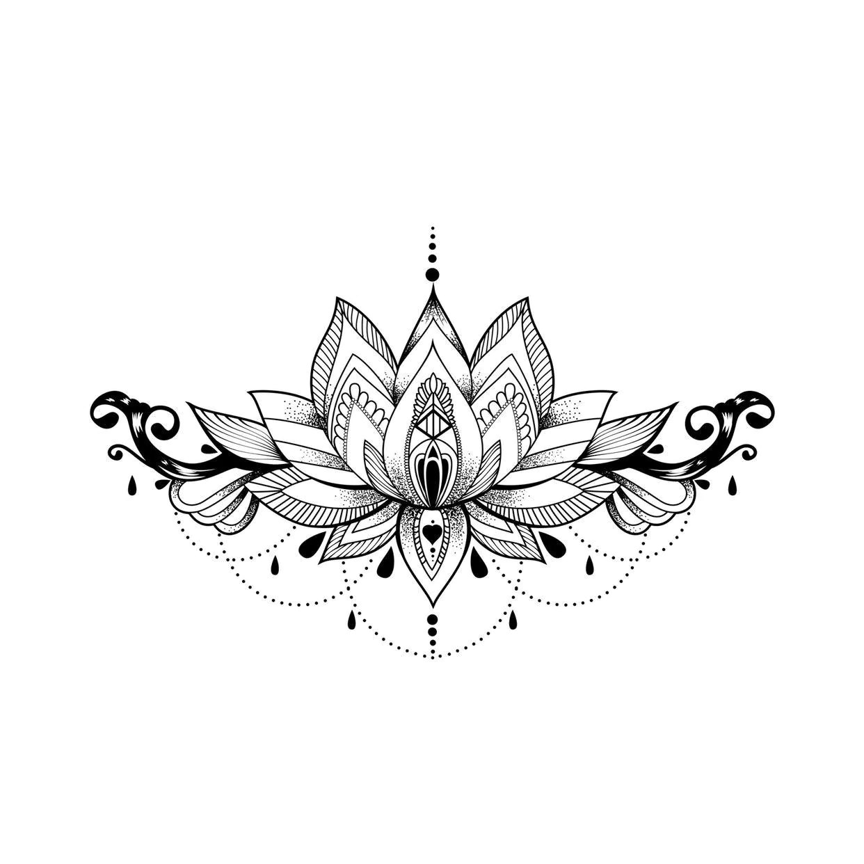 Delicate Lotus Delicate Lotus Temporary Semi Permanent Tattoos Momentary Ink