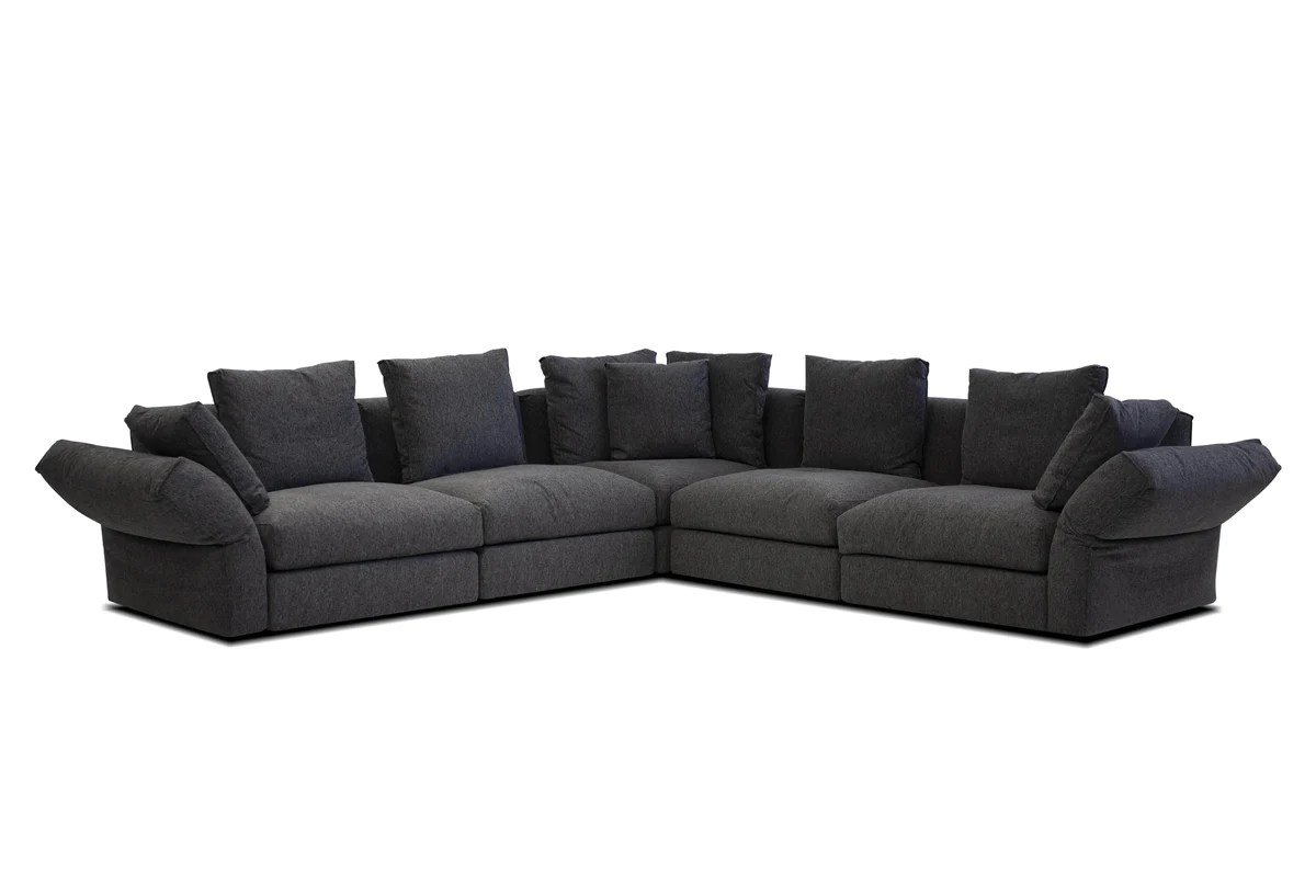 Mobital Flex Modular Corner Sectional Sofa In Peppercorn Chenille Fabric Wholesale Furniture Brokers Canada