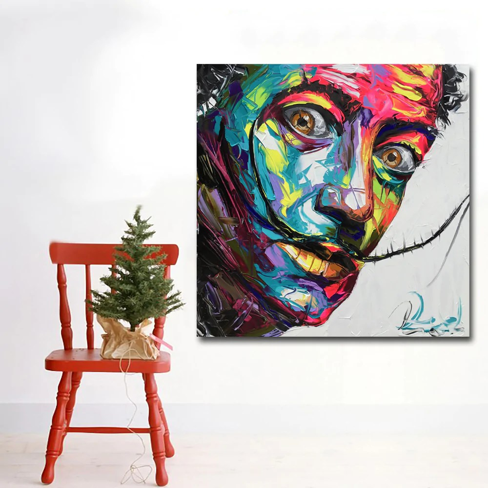 Abstract Art Prints On Canvas Abstract Art Prints Colorful Faces Of Salvador Dali Oil Painting Wall Art Canvas Printing Poster And Print For Living Room Decor