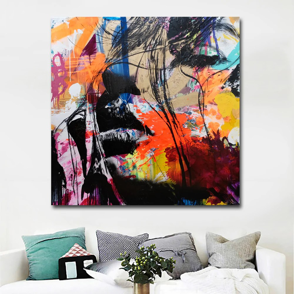 Abstract Art Prints On Canvas Abstract Art Prints Colorful Faces Portrait Painting Wall Art Canvas Printing Poster And Print For Living Room Decor