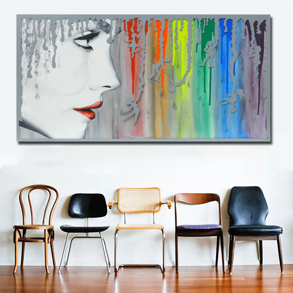 Abstract Art Prints On Canvas Abstract Art Sexy Girl With Rainbow Canvas Painting Wall Art Prints For Living Room Home Decor Abstract Prints Posters