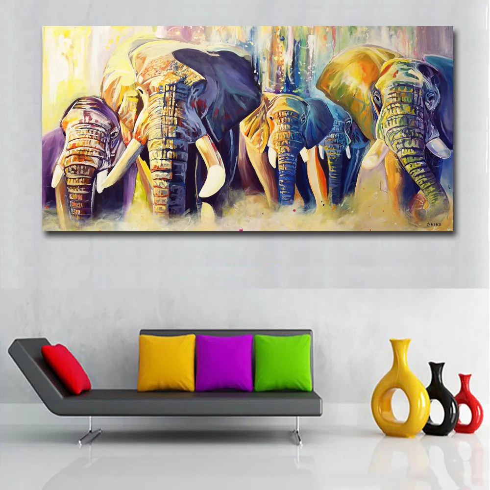Wall Art Prints And Posters Colorful Abstract Art Elephants Competition Paintings Prints
