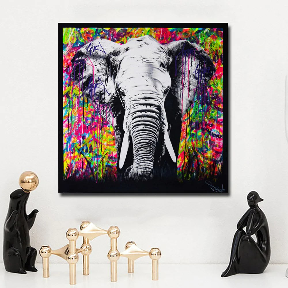 Cuadro Graffiti Graffiti Street Art Elephant Painting Poster Print Wall Art Cuadro For Living Room Animal Painting Home Decor Canvas Painting