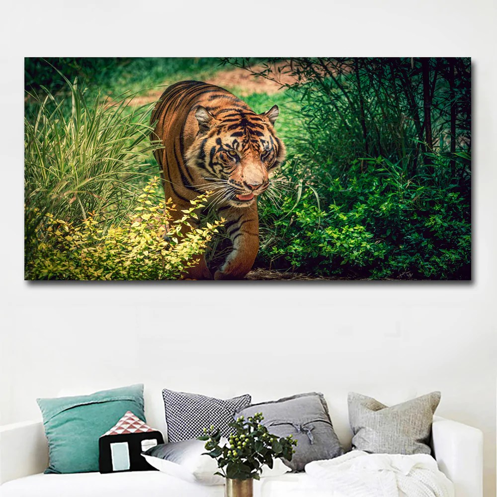 Wall Art Prints And Posters Hd Prints Big Size Animal Painting Tigers In Grass Prints Posters Canvas Painting Wall Art Prints For Living Room Home Decor