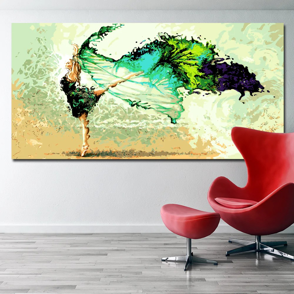 Art Wall Selflessly Abstract Dancing Girl Painting Modern Oil Painting Printed On Canvas Abstract Art Wall Picture For Living Room