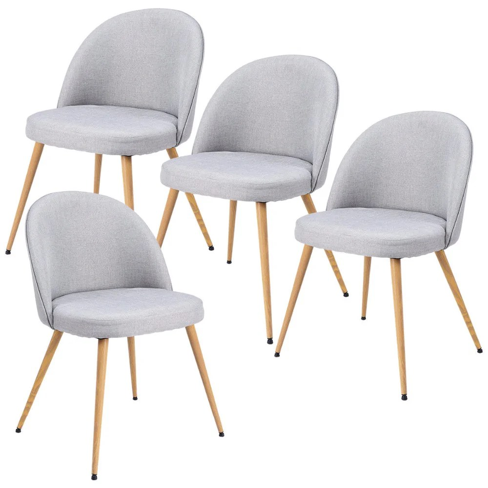 Accent Arm Chairs Set Of 4 Fabric Cushion Seat Accent Arm Chair Modern Dining Chair Metal Leg