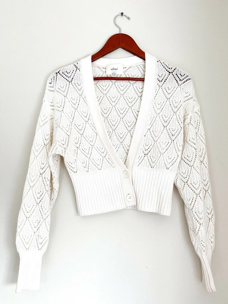 Aritzia Wilfred Womens Small Ivory Cardigan Sweater Cropped Knit Deep Shameless Resale