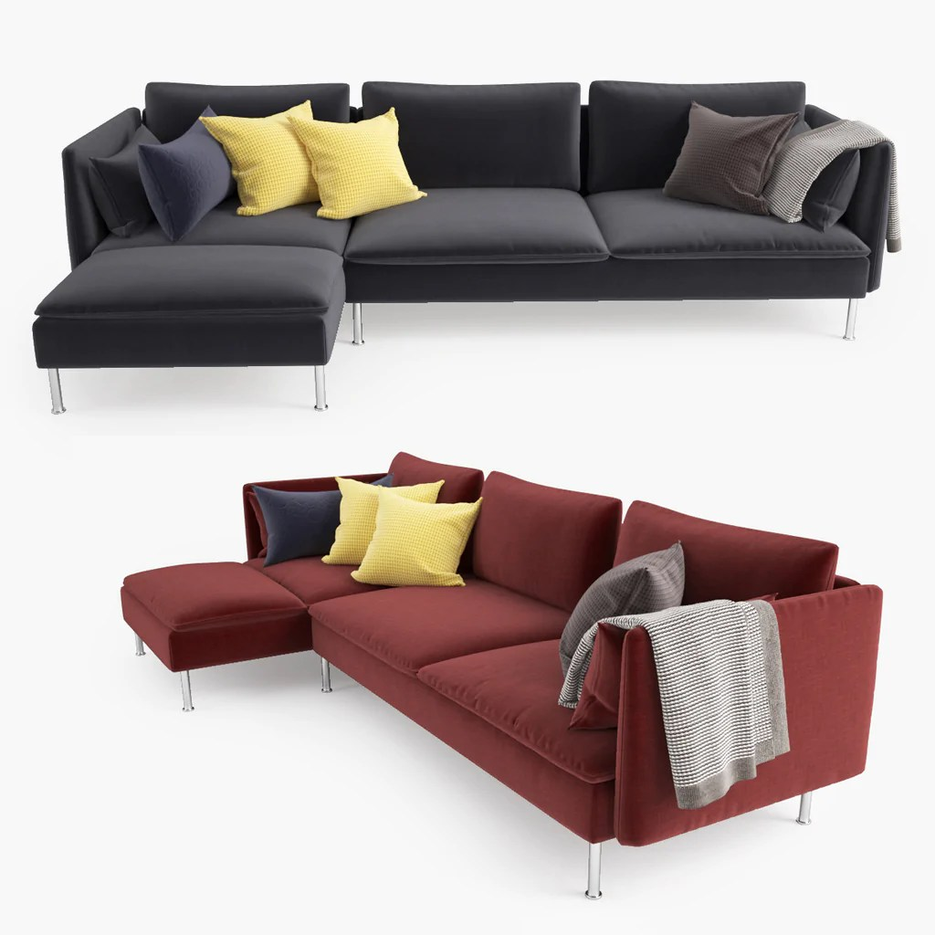 Sofa Soderhamn Ikea Ikea Soderhamn Sofa And Chaise Lounge 3d Model