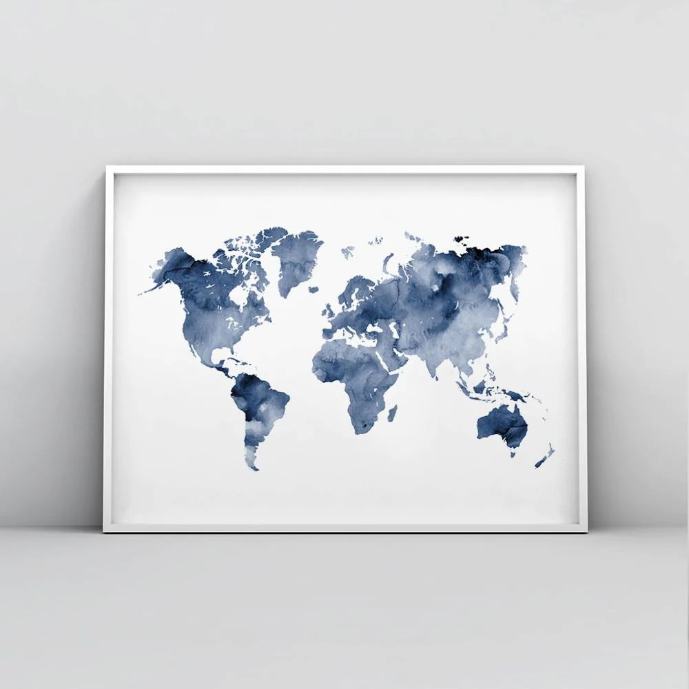 Poster Of The World Deep Blue Watercolour World Map Poster