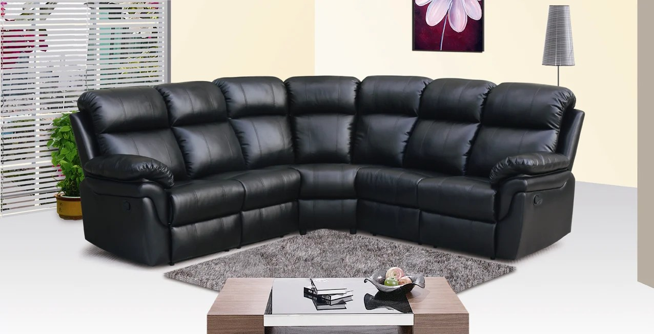 Sofa Frankfurt Frankfurt Sectional Sofa With Two Recliners 8005black