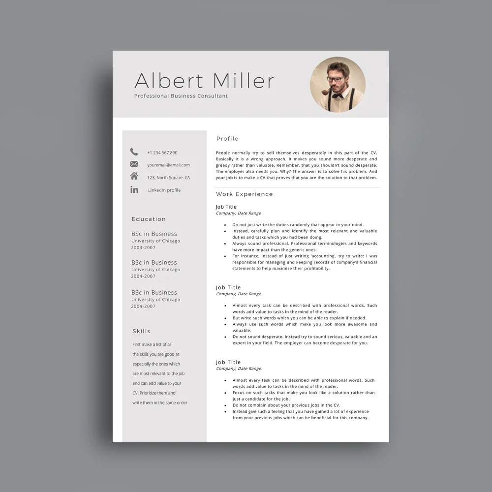 profissional cv template