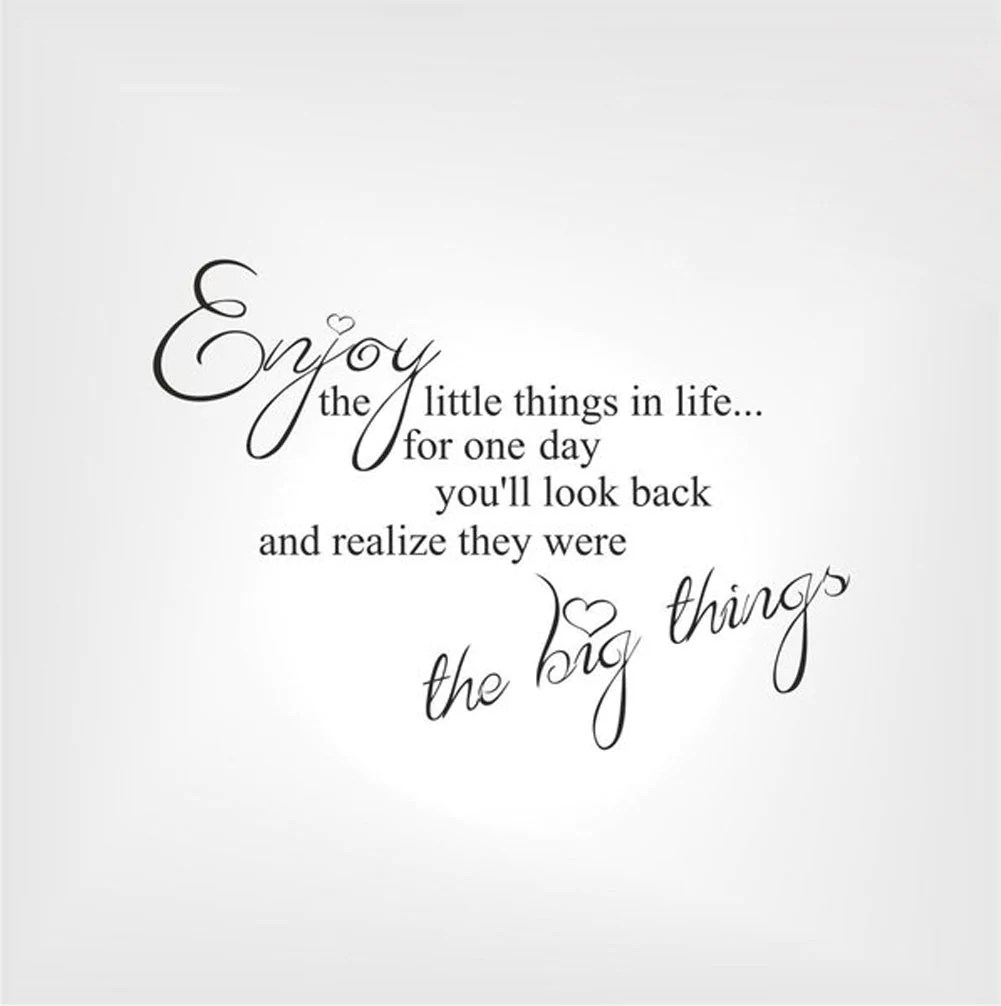 Teksten Op Muur Woonkamer Enjoy The Little Things In Life Quote Big Small Sizes Colour Wall Sticker Modern Q36