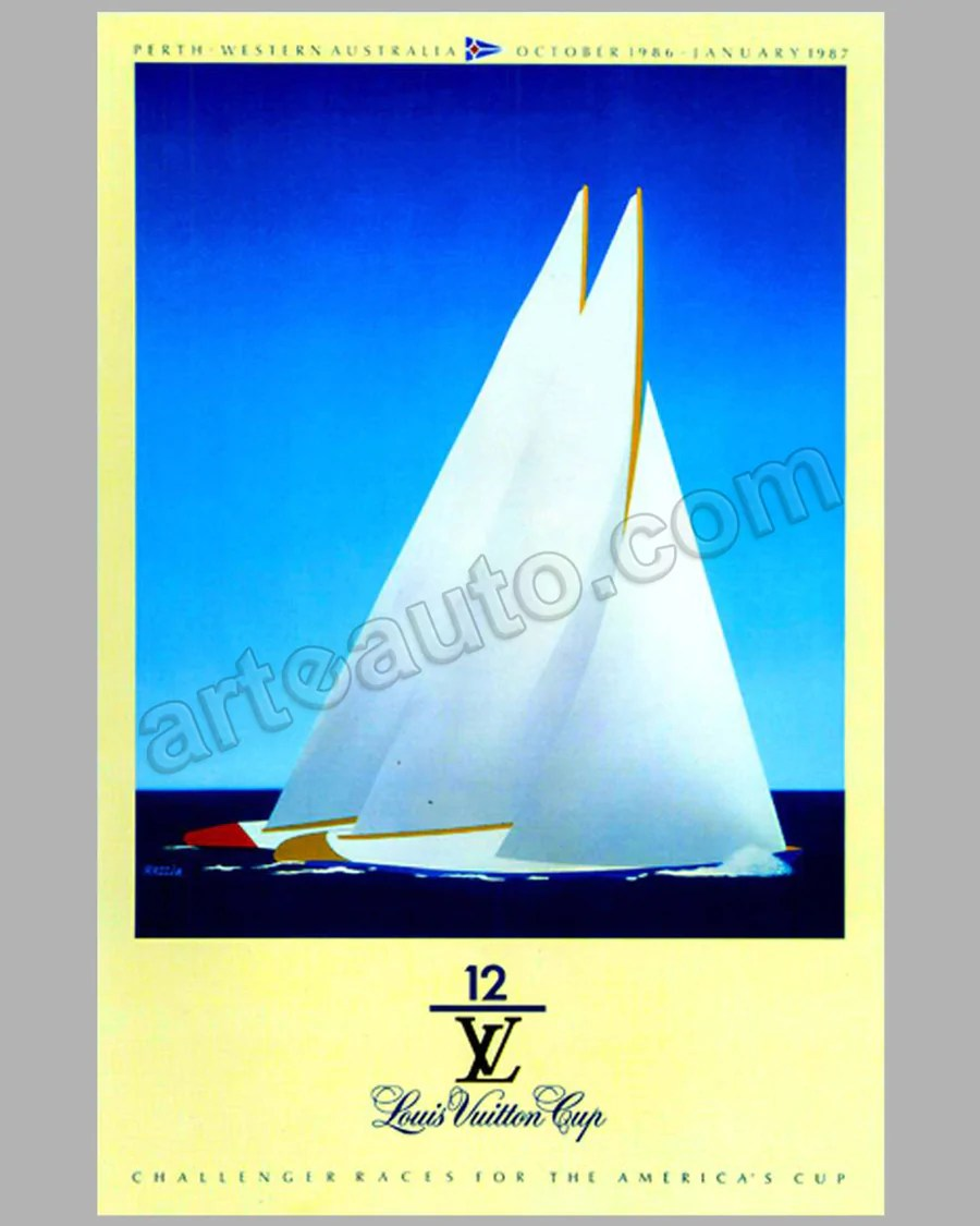Posters Perth Louis Vuitton Cup Challenger Races For The America S Cup Large Poster By Razzia 1986 1987