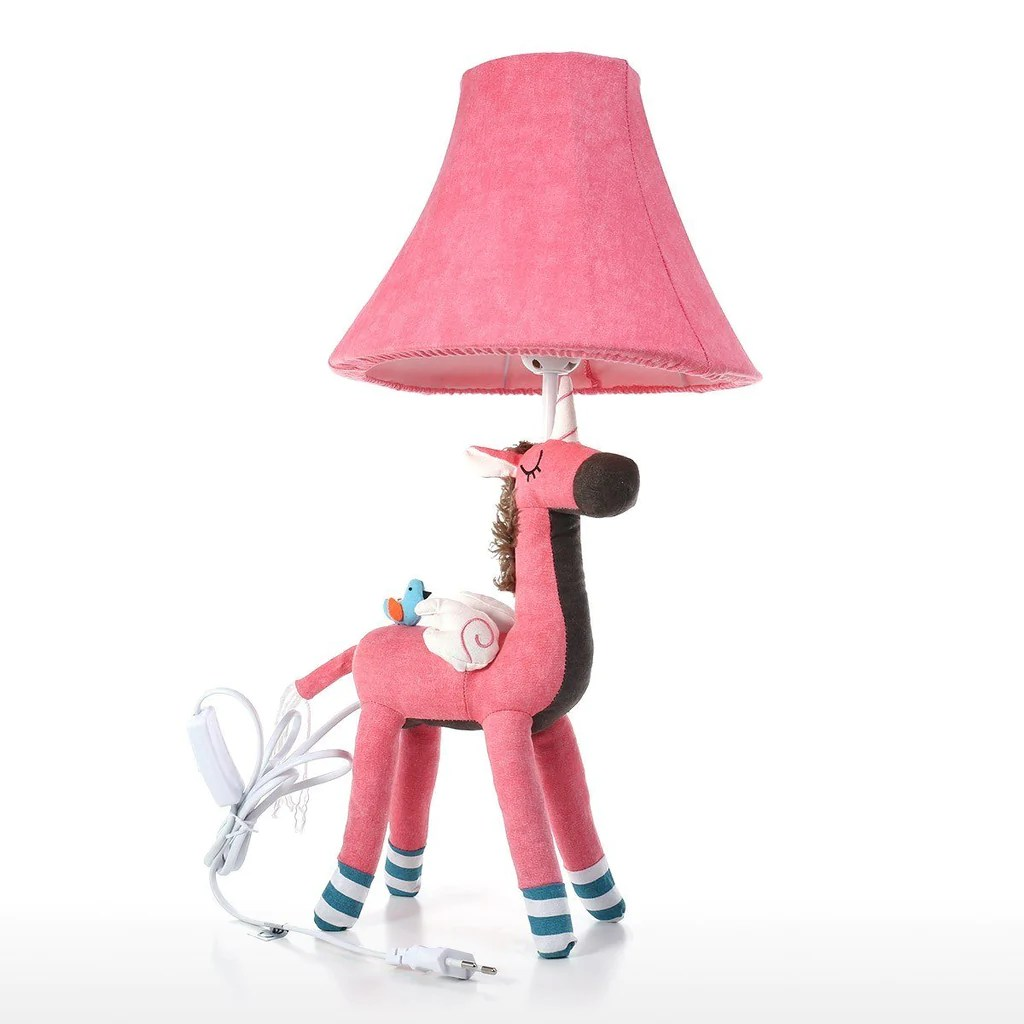 Animal Lamp For Nursery Pink Table Lamp With Unicorn Toy For Nursery Decor