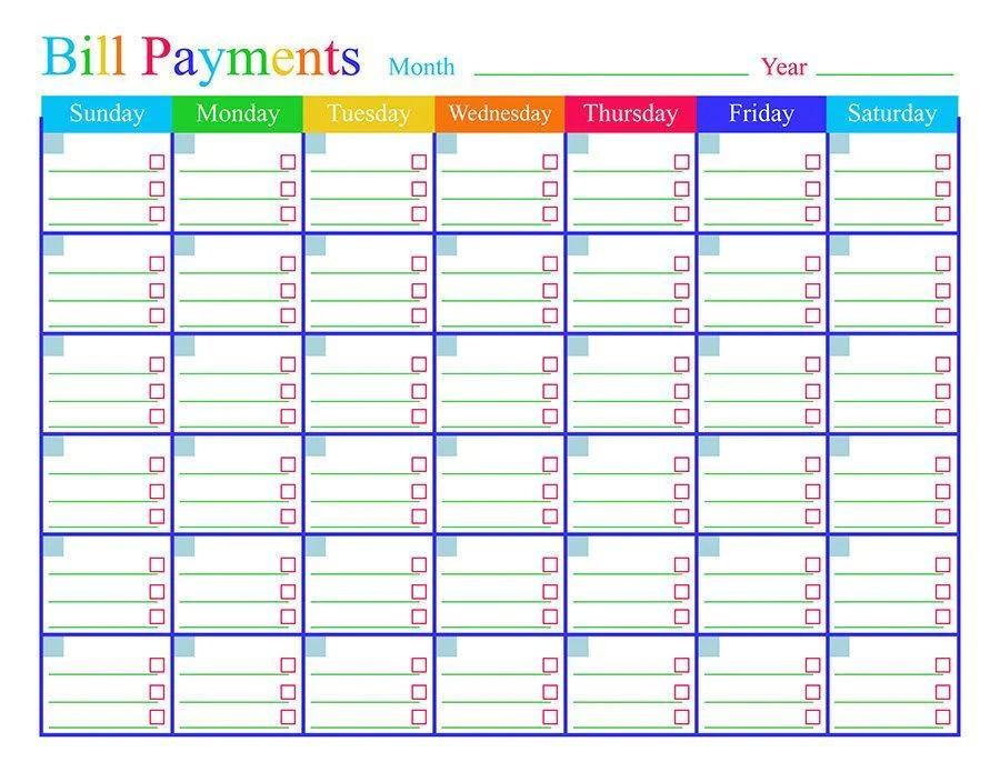 Bill Calendar Template Printable Images Template Design Ideas