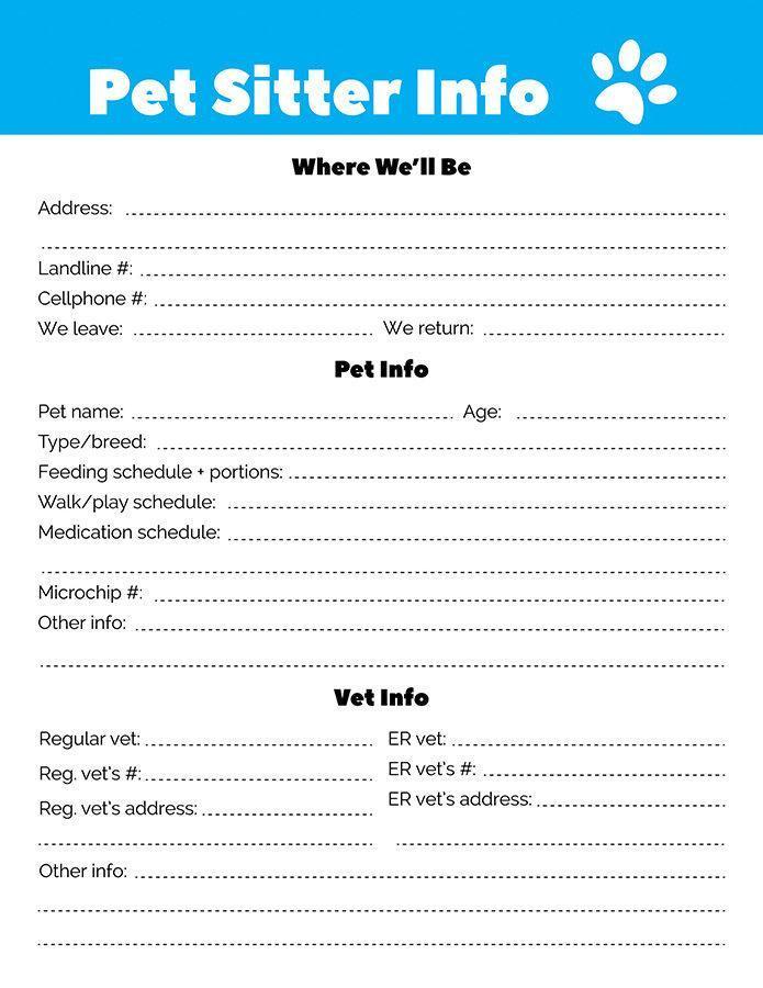 pet sitting information sheet - Acurlunamedia