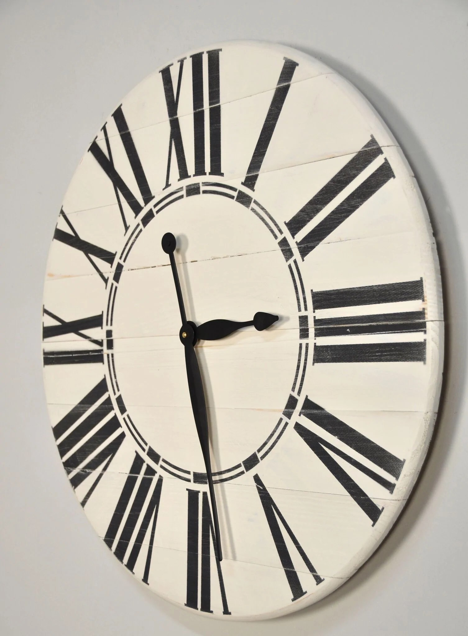 & Wall Clock White Rustic Wall Clock With Black Roman Numerals